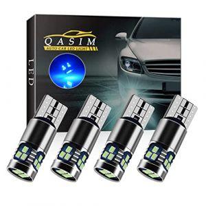 Qasim 4x LED T10 W5W Ampoules Canbus Sans Erreur Wedge 168 Bleu 2016 18-SMD pour Voiture Lumière de Dôme Intérieur Liseuse Feu arrière DC9-28V Hétéropolarité cconstante (Qasim auto parts, neuf)