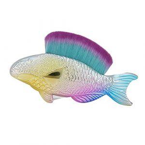 Brosse à poussière pour ongles brosse à poussière d'art des ongles brosse multifonctionnelle en forme de poisson en forme de poisson brosse d'élimination de la poussière des(Violet) (Castna, neuf)