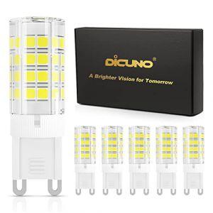 DiCUNO G9 Ampoule LED 4W (Équivalent 40W Ampoules Halogènes), 450LM, Blanc froid 6000K, AC100-240V, NON-Dimmable, Économie d'énergie, Base en céramique, Culot G9 Standard, Lot de 6 (DiCUNO EU Direct, neuf)