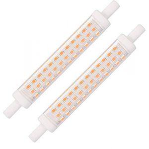 R7S LED 118mm 10W Ampoule R7s LED Linéaire 118mm 10W Blanc Chaud 3000K R7S Douille J118 Non Dimmable, 15mm X 118mm, Equivalent à R7S 118mm100W Lampe Halogène, 230V AC, 1200LM, Pack de 2 (BAOMING, neuf)