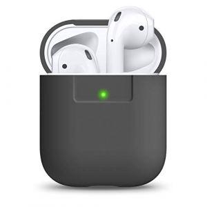 elago Étui Compatible avec Apple AirPods 1 & 2 (Témoin LED Non Visible) en Silicone Non-Toxique Anti-Rayures Plus de Protection - Gris foncé (elago, neuf)
