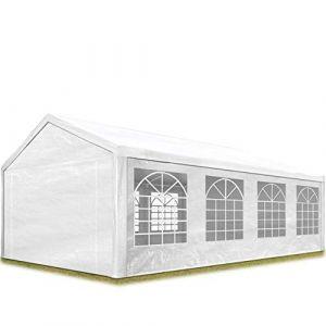 TOOLPORT Tente de Réception 4x8 m pavillon Blanc Bâche PE épaisse de 180 g/m² Imperméable Tente de Jardin (INTENT24, neuf)