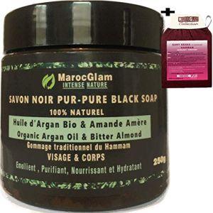 Savon Noir Marocain à l'huile d'argan BIO et l'Amande amère GOMMAGE et HAMMAM+ Gant de gommage HAMMAM KESSA. Gommage au savon noir pour une peau douce et soyeuse (MAROC GLAM, neuf)