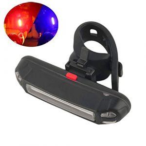 okdeals Phare arrière de vélo Rechargeable USB COB LED pour VTT, Red-Blue Light, 3.2 * 0.6 * 0.8in (zhaoxing0807, neuf)