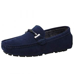 Jamron Hommes Élégant Boucle Loafers Confortable Daim Chaussures de Conduite Stylées Mocassin Slippers Bleu Marin Peluche SN19020-2 EU44 (No.7 Shoes warehouse, neuf)