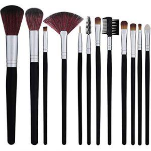 La mode 12pcs forment des pinceaux cosmétiques kit fard à paupières sourcils cils eyeliner poudre pour les lèvres blush pinceau visage avec sac rose pochette (LIJINCHENG, neuf)