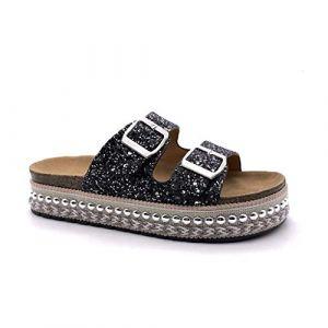Angkorly - Chaussure Mode Mule Sandale de Plage Pratique Confortable Femme Strass Glitter Perle tressé Talon compensé Plateforme 4 CM - Noir - YT-13 T 38 (Angkorly, neuf)