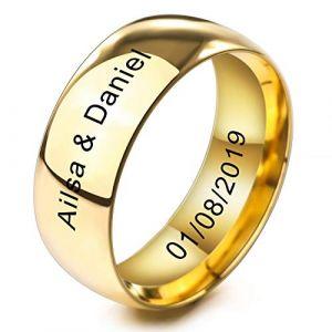 MeMeDIY 8mm Or Ton Acier Inoxydable Anneau Bague Bague Mariage Amour Taille 57 - Gravure personnalisée (MeMeDIY, neuf)