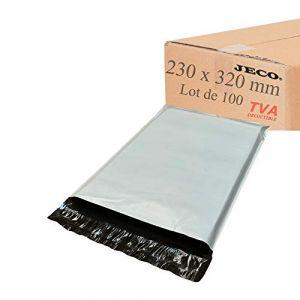 JECO® - Enveloppes plastique d'expédition opaques 230x320 mm, pochettes d'expédition VAD 23x32 cm 50 microns. Légère, solide, inviolable et imperméable (100) (JECO-DISTRIBUTION, neuf)