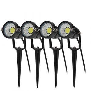 Bloomwin Spot à LED 4 x Projecteur Spot LED 5W 500LM 220V IP65 COB Éclairage de Jardin à Piquer Exterieur pour Cour Chemin Allée Escalier Parc Balcon Terrasse Pelouse Blanc (Skysper-Sports & Outdoors, neuf)