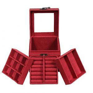 Boîte à bijoux de velours portable Trois couches petite boîte à bijoux Boîte de bijoux cadeau d'anniversaire de stockage (MengZhongDeNi, neuf)