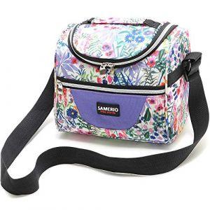 Enfants Sac Isotherme Réutilisable Lunch Tote isolé Lunch Box pour les Fille Femme Sac Isotherme Repas Portable Avec bandoulière réglable pour Voyage Camping Pique-nique Travail Boulot (Fleur) (Aaflying, neuf)