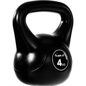 MOVIT® Kettlebell balle haltère avec revêtement en plastique protecteur de sol, poids de la balle en 8 VARIANTES: 4 kg haltère oscillant (Max Store France, neuf)