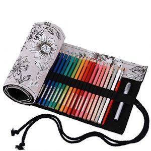 Amoyie Trousse à Crayon Rouleaux pour 72 Crayons de Couleur, Toile Pochette Organza, Porte-Crayons Enroulable (Les Crayons ne sont Pas fournis) (amoyie, neuf)