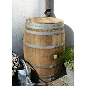 Temesso Barrique de vin, Citerne Eau de Pluie en Bois de chêne 225 litres recupérateur (Tonneau Ouvert avec Couvercle) (TEMESSO, neuf)