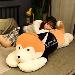 Peluche jouet husky oreiller de sommeil chiffon poupée femelle mignon poupée cadeau d'anniversaire-Section d'or-joyeux anniversaire_85cm (lizhaowei531045832, neuf)