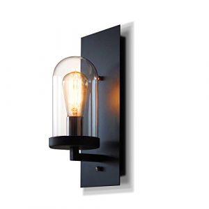 Rétro Créatif Fer Verre Luminaire Applique Murale Industriel Style Minimaliste Design couloir Lampe Murale pour Décoration de Maison Cuisine Restaurants Café Club Appliques E27 Ampoule (noir) (unliang, neuf)