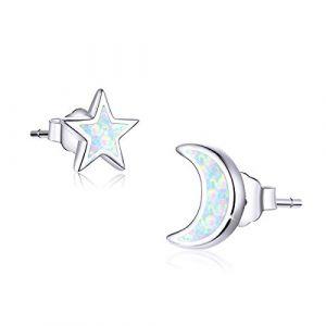 Boucles d'oreilles lune et étoile, bijoux plaqué or blanc 18 carats, Boucles d'oreilles étoile opale en argent sterling 925, Clous d'oreilles lune pour femmes filles (SIMPLGIRL, neuf)