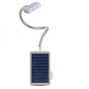 Lampe de table clip solaire, DINOWIN USB Rechargeable Portable Flexible Gooseneck 3LED Mini lampe de bureau solaire Éclairage de lecture intérieur, Lampes de lecture de chevet (blanc) (DinowinDirect, neuf)