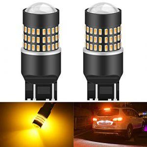 KaTur 7443 7444NA 7440 7440NA 992 Ampoule LED 900 Lumens 3014 78SMD Lentille Ampoules LED pour feu Stop Clignotant Feu arrière Feu de recul, Orange (Paquet de 2) (KAtur, neuf)