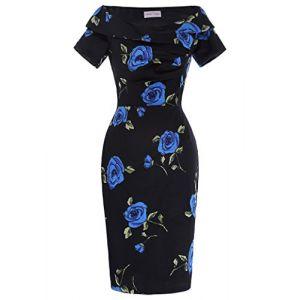 Dames rétro col en V sans Bretelles Coton à Manches Courtes Floral Partie Robe BP000117-2_USA2 (Gesunde Familie, neuf)