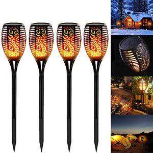 Swonuk 4pack LED Lumières Solaire Flammes Torche Etanche IP65 Lampe Torche de Jardin Décor Lampe & Solaire Lumière Lampe Décoration de Jardin/Chemins/Yard (NewChoice, neuf)