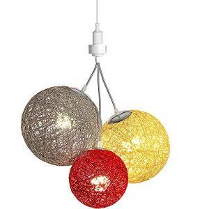 Luminaire Suspension E27-100% prêt à l'emploi sans outils - A visser directement sur une douille E27 - Télécommande sans fil - 3 boules en chanvre naturel - 3 ampoules LED E27 incluses (3x9W)-Bahia (Lighting Arena, neuf)