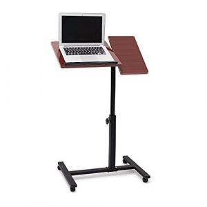 Relaxdays Table pour ordinateur portable hauteur réglable roulettes support pliable H x l x P: 95 x 60 x 40,5 cm bois d'ébène, rouge