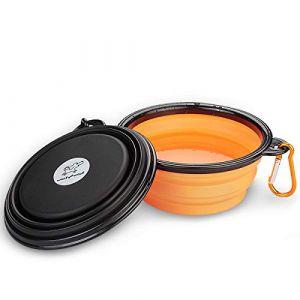 WoofWoof gamelle de voyage pliable en silicone pour chien et chat - 350ml(Orange et Noir) (SIBEN, neuf)