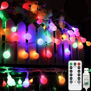 Guirlande lumineuse 10 m 100 LED, télécommande, prise USB, 8 modes d'éclairage, guirlande étoilée pour Noël, chambre à coucher, extérieur, jardin, terrasse, vacances, décoration (WeEnthur, neuf)