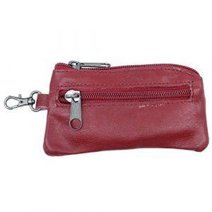 Porte Monnaie Plat Rouge en Cuir de Vachette véritable avec Porte clé avec 2 Poches Zip pour Poche de Pantalon et Veste Homme (ceinture-et-moi, neuf)