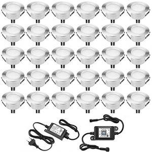Lampe au Sol Spot Encastrable+Wifi contrôleur-Lumière blanc chaud étanche IP67 1W Ø45mm-éclairage pour terrasse, patio, chemin, mur, jardin, décoration, intérieur et extérieur(lot de 30) (INDARUN-EU, neuf)
