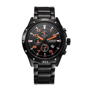 CURREN 8201 luxe tungstène acier mode hommes d'affaires montre analogique sport occasionnels montres-bracelets (FYLove, neuf)