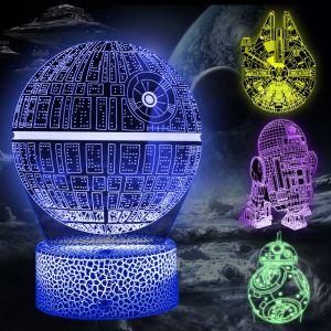 Star Wars Lampe 3D Illusion Veilleuse, 5 Pièces 3d Lampe avec Câble de Charge et 4 Mode flash 16 Couleurs Changeantes, Cadeaux Parfaits pour les Enfants et les Fans de Star Wars (Cenove Direct EU, neuf)
