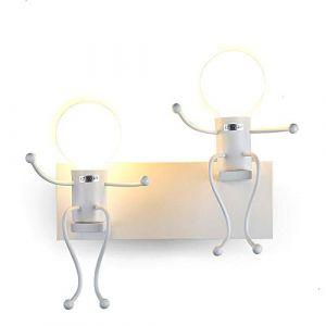 FSTH Créatifs Applique Murale Rétro Fer Vintage Lampe murale Moderne Individuels Applique Métal Lampe pour Bar, Chambre à Coucher, Cuisine, Restaurant, Café, Couloir E27 (Blanc-2) (FengShang Store, neuf)