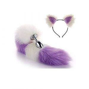 Serre-tête en fausse queue de renard et oreilles de chat Blanc violet 3 tailles (Pavian, neuf)