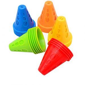 Cônes De Slalom, 50 PACK Cônes de Circulation, Cones de Sport Plots de Marquage de Haute Visibilité Signalisation Multicolores Plot Cone pour Football, Sport d'Agilité ou Le Dressage des Chiens (YAVO-EU, neuf)