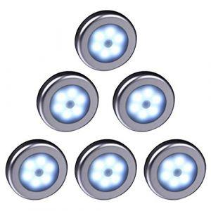 WRalwaysLX Lampe LED sans fil avec détecteur de mouvement pour placard, escalier, couloir, cuisine, chambre à coucher (6pcs) (coquille d'argent (lumière blanche)) (WRalwaysLX Light, neuf)