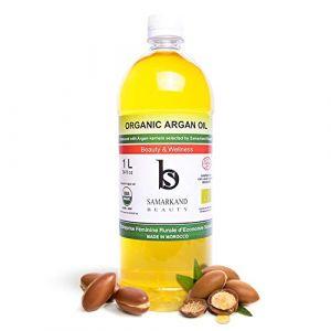 1 Litre Huile d'Argan BIO 100% Pure Certifié Ecocert de Première Pression à Froid pour Corps et Cheveux - L'original du Maroc (JAMONPRIVE, neuf)