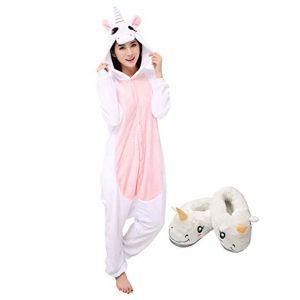 Adulte Kigurumi Pyjama Licorne Unisexe Anime Animal Costume Cosplay Combinaison Pyjama ou Déguisement (M, Rose-Chausson) (Mescara, neuf)