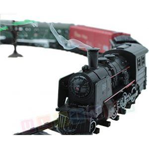 Chemin de fer électrique de train - 4 moteurs, 4 voitures, son, lumière et fumée - Locomotive électrique - 25 pièces (e-bsd, neuf)