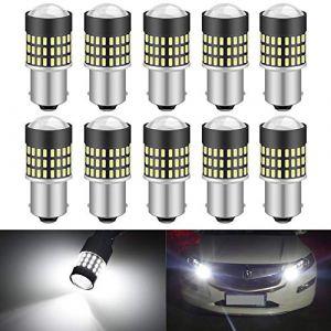 KATUR 1156 BA15S 7506 1073 1095 1141 Ampoule LED 900 Lumens 3014 78SMD Lentille LED Ampoules pour feu Stop Clignotant Feu arrière Feu de recul, Blanc Xenon (Pack de 10) (KAtur, neuf)