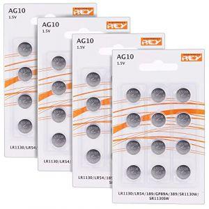 Lot de 48 Piles AG10 1.5V, Pile Bouton au Lithium Alcaline, LR1130, LR54, 189, GP89A, 389, SR1130W, SR1130SW, Électronique Roi® (Rey ®, neuf)