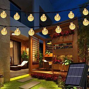 Guirlande lumineuse solaire de jardin 50 LED d'extérieur Boule de cristal Guirlande lumineuse de fée Lumières de fée Étanche 24Ft Éclairage décoratif pour jardin, terrasse, cour, Noël (Blanc chaud) (Useber Ltd, neuf)