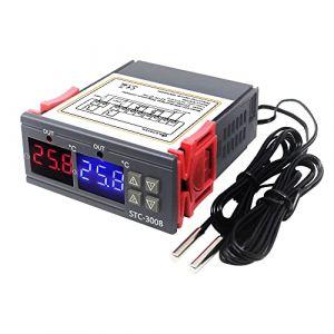 KETOTEK Contrôleur de température Affichage Numérique Thermostat de chauffage et de refroidissement automatique 12V avec 2 sonde pour Radiateur Soufflant Tapis Chauffant Terrarium Semis Serre (KETOTEK Store, neuf)