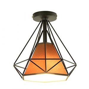 STOEX Retro Plafonnier Industrielle Cage en forme Diamant en Métal Fer Lustre Suspension Luminaire pour Salon Salle Chambre Décorer Maison Cuisine (Brun) (STOEX, neuf)