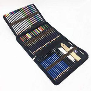 72PCS Crayons de couleurs avec Sac Inclus crayons aquarellables,Crayons Fusain et accessoire dessin dans une grosse trousse -taillés pour Coloriage et Dessin (TVGG, neuf)