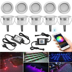 Lot de 10 Bluetooth RGB Spots LED Encastrable Extérieur, Ø45mm Dimmable Couleur Mini Spot Led Spot Encastrable Sol, Etanche IP67 DC12V Spot Piscine Spot Escalier pour Terrasse Bois (MeiMai, neuf)