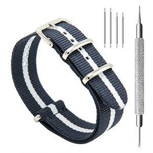 CIVO Bracelets de Montres NATO Nylon Bracelet en Acier Inoxydable Boucle 18mm 20mm 22mm Bande pour Homme Femme (CIVO Direct-FR, neuf)