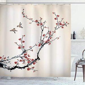 ABAKUHAUS La Nature Rideau de Douche, Cerises Branches Fleurs Bourgeons Oiseaux Style Asiatique au Effet de Peinture, Costume Personnalisé Personnalisable, 175 X 200 cm, Bourgogne (Abakuhaus, neuf)